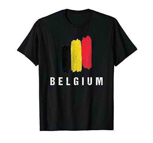 Gemalte Belgien Fahne / Belgische Flagge Fan Geschenk T-Shirt