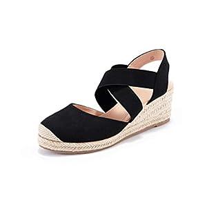 Nailyhome Womens Espadrilles Platform Wedge Sandals Elastic Crisscross Strappy Closed Toe Mid Heel Sandals