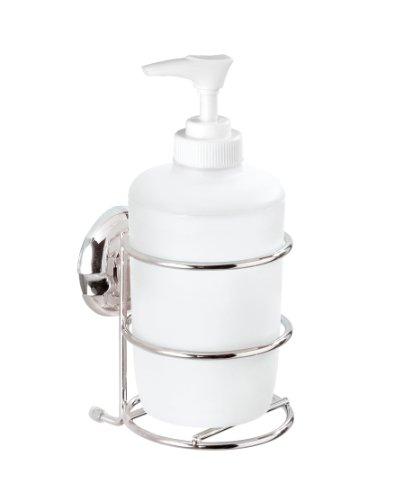 WENKO 16985100 Seifenspender Milazzo Super-Loc - Befestigen ohne Bohren, Chrom, Kunststoff, 280 ml, 7.5 x 17.5 x 9.5 cm, weiß