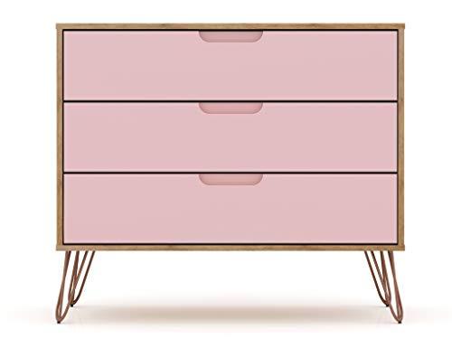 Manhattan Comfort Rockefeller Mid-Century Modern 3 Drawer Bedroom Dresser, 35.24', Nature/Rose Pink