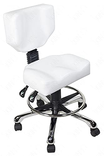 Supreme Edition Esthetician Medical Drafting Stool with Back Cushion Tattoo Hydraulic Chair in Black and White Colors (White)