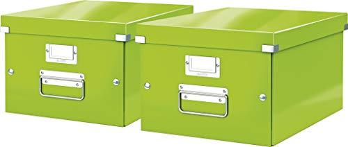 Leitz, Mittelgroße Aufbewahrungs- und Transportbox, Mit Deckel, Für A4, Click & Store (Grün, Mittel | 2er Pack)