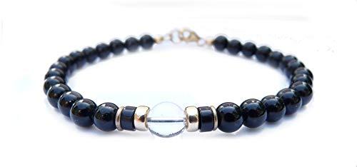 DAMALI Mens Herkimer Diamond Birthstone Bracelet April Onyx Beaded Bracelets, Jewels for Gents 7 in