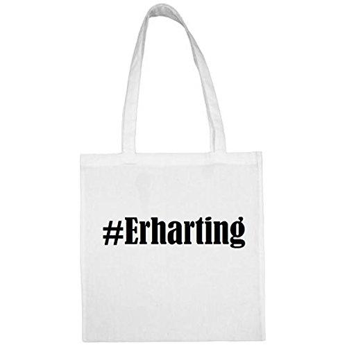Tasche #Erharting Größe 38x42 Farbe Weiss Druck Schwarz