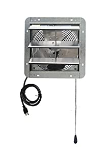 """Iliving ILG8SF12V-T 12 inch Shutter Exhaust Attic Garage Grow, Ventilation Fan with 3 Speed Thermostat 6 Foot Long 3 Plugs Cord, 12"""" - Variable, Silver"""