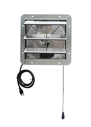 iLIVING 12' Wall Mounted Shutter Exhaust Thermostat Control-3 Speeds Vent Fan For Home Attic, Shed, or Garage Ventilation, 600 CFM, 900 SQF Coverage Area, Variable, Silver