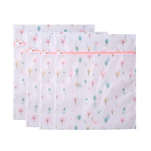 OUBOT Bolsa de lavandería de malla con patrón para lavadora, clasificación de viaje, bolsa de almacenamiento para ropa sucia de cuatro piezas (color: árbol pequeño, cuatro piezas, tamaño: L)