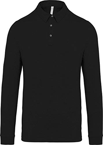 Kariban Polo Jersey Manches Longues Homme - Noir, XXL, Homme