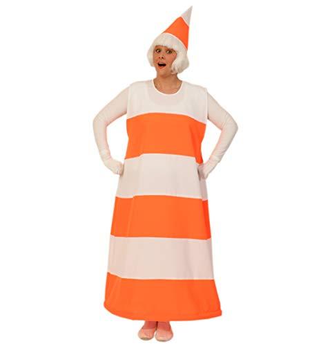 KarnevalsTeufel Erwachsenenkostüm Pylone mit Hut orange-weiß gestreift Verkehrshütchen Leitkegel (X-Large)