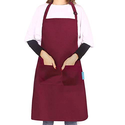 esafio Delantal de Cocina de Poliéster con 2 Bolsillos,Delantales de Cocinero Ajustables para Hornear/Jardinería/Restaurante/Barbacoa/Rojo