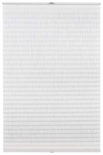 Estor plisado Klemmfix a medida para todas las ventanas, montaje hasta 27 mm, sin agujeros, color blanco, diseño de línea: 71-80 cm, altura: 101-150 cm