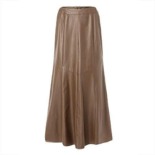 Frühlingsrock, A-Linie, modisch, Damen, lässig, solide, hohe Taille, Arbeit, Lederrock Gr. 48, khaki