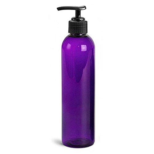 Royal Massage 8oz Bullet Round Massage Oil/Lotion/Liquid Bottle with Saddle Pump (Purple, 1)