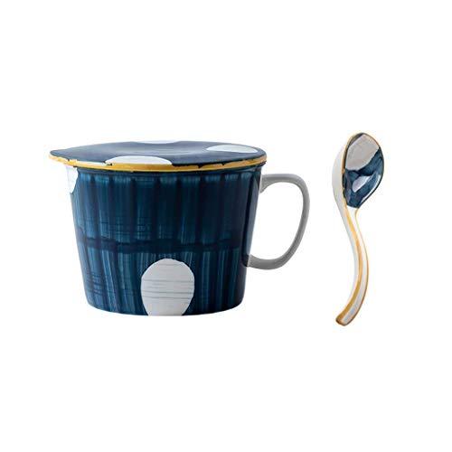 JLWM Suppenschüssel Mit Henkel 1L, Japan Groß Suppenschüsseln Mit Deckel Und Löffel Aus Porzellan Keramik Mikrowelle Für Studentenwohnheim Instant-Nudeln Haferbrei-B