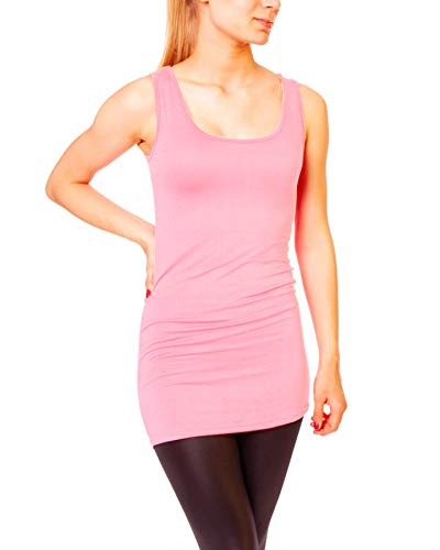 Easy Young Fashion Damen Basic Tank Top Träger Hemd Longtop Unterhemd Extra Lang Skiny Fit One Size Rosa