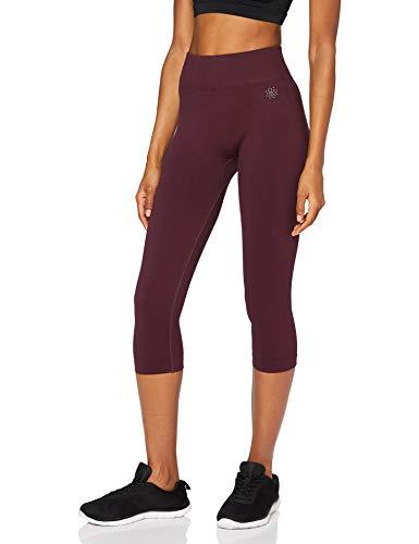 Marca Amazon - AURIQUE Mallas para Correr Cortas sin Costuras Mujer, Rojo (Port), 42, Label:L