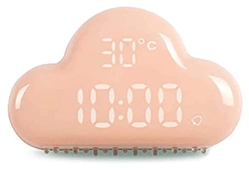 HGJINFANF Diseño de primera clase, esencial para el hogar Reloj despertador de nube Control inteligente LED Luz LED Pequeño despertador Pantalla de temperatura Reloj despertador USB (Color: Rosa)