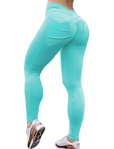 Hioinieiy Women's Scrunch Ruched Butt Lifting Booty Enhancing Leggings High Waist Push Up Yoga Pants with Pockets Turquoise M