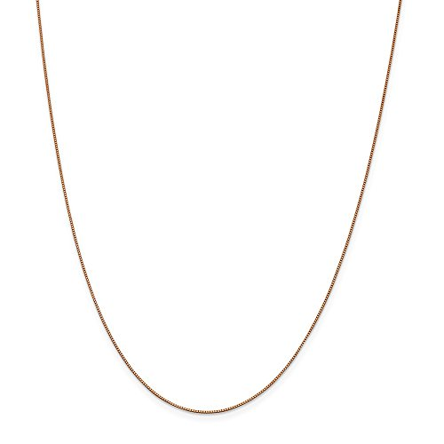 14k Rose Gold .70mm Link Box Chain Necklace 20 Inch Pendant Charm Fine Jewellery For Women Gifts For Her
