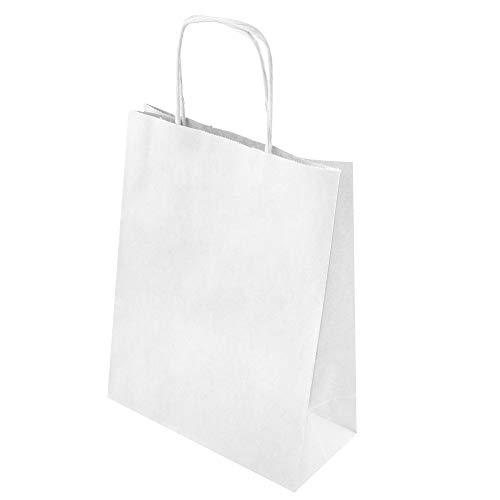25 STK Öko - Papiertasche mit gedrehten Papiergriffen 180x80x225mm weiss geschenktueten klein weiss bag tueten papiertragetaschen natur papiertueten kreuzboden 18x8x22 cm