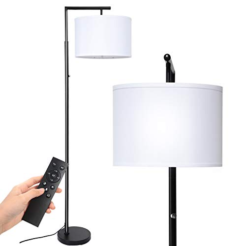 Deeak Floor lamp,Stepless Brightness & 4 Colors Temperature Modern Standing Shade Led Floor Lamp with Remote & Touch Control for Living Room,Office and Bedroom(9W LED Bulb Inclued)(Black)