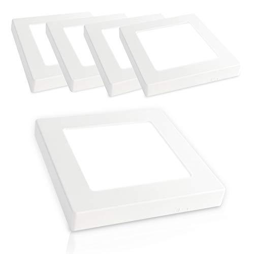 Xtend PLd2.0 Lot de 5 plafonniers LED 6,5 W Extra plat carré Blanc neutre 4000 K 480 lm 120 x 120 mm Remplace 40 W 230 V