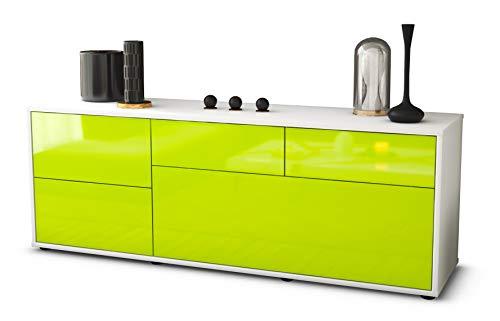 Stil.Zeit TV Schrank Lowboard Anna, Korpus in Weiss matt/Front im Hochglanz Design Limettengrün (135x49x35cm), mit Push to Open Technik, Made in Germany