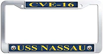 Dongsmer USS Nassau CVE-16 Auto License Cover Holder Stainless Steel License Plate Covers