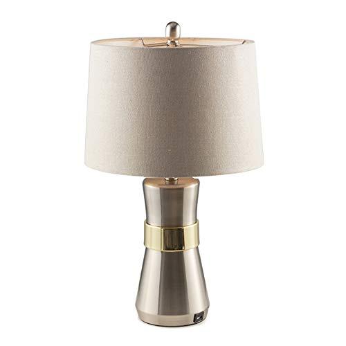 Lámpara de mesa Accent moderna Lámparas de mesa con puerto de carga USB metal tela de plata sombra lámpara de escritorio for la Vida Roaom dormitorio de noche Mesilla de noche Oficina Lámpara de noche