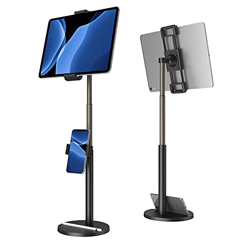 Tablet Stand built-in Phone Holder,Klearlook 2 in 1 Height Adjustble to 24.4'Tablet Holder,360°Ratating&Clamp Adjustable Tablet Phone Mount for iPad,Switch,Galaxy Tab, 4.7-12.9' Devices-Black