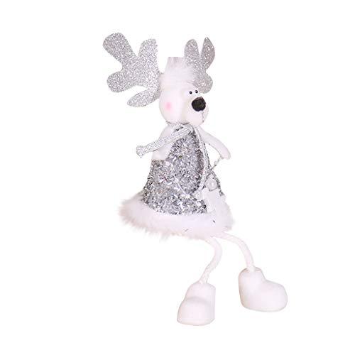 Takkar - Adornos navideños para regalo de cumpleaños, Navidad, muñeco de nieve/Elan/Papá Noel, ángel de Navidad, decoración de mesa, 17 x 8 cm, color dorado y plateado, c
