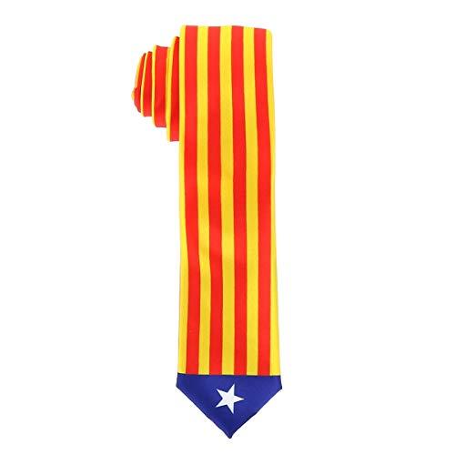 cravateSlim Corbata Bandera Catalana - Colores de la Regin Catalua L'estelada - Corbata Amarilla Roja y Azul - Evento o Disfraz