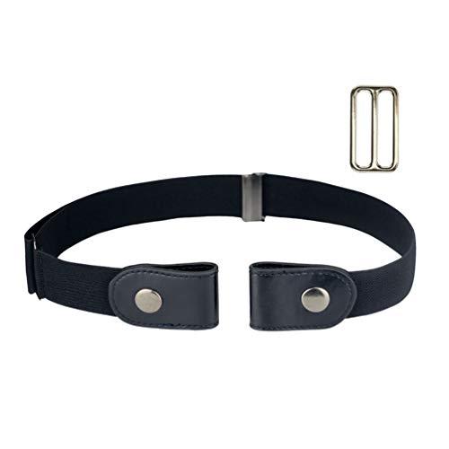 No Buckle Stretch Belt for Women/Men Invisible Elastic Buckle Free Belts Black