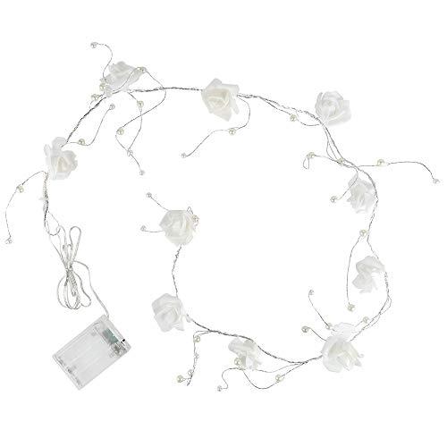 LED-Lichterkette | batteriebetrieben | mit weißen Rosen & Perlen | 10 LED-Lämpchen in Warmweiß | Tisch-Deko für Innen | Rosen-Lichterkette | mit Timer (6 Stunden AN | 18 Stunden AUS)