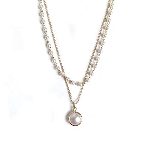 QiuYueShangMao Collar de Perlas de Doble Capa para Mujer Joyas Simples de Personalidad Joven coreanapersonalizadas Collar Jovenes Collar