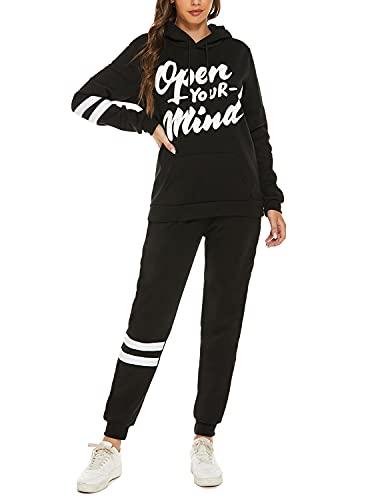 YIYIN 2 Piezas Conjunto Chándales para Mujer Sudadera Sweatshirt con Capucha + Pantalones Casual Completo Traje Deportivos para Otoño e Invierno Negro S
