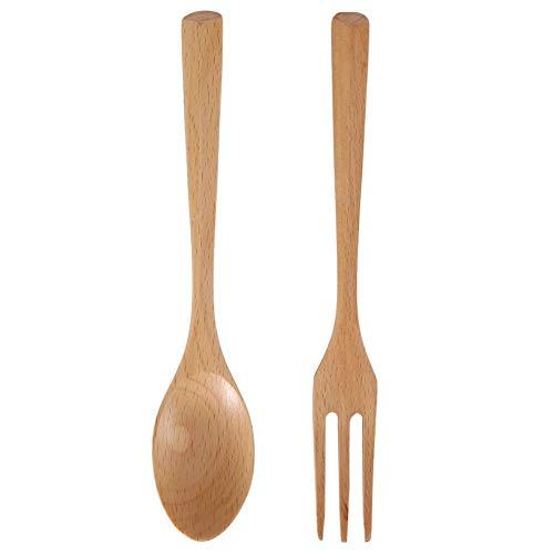 Juego de cuchara y tenedor de madera, juego de cubiertos de utensilios de madera de cocina con asas largas para servir ensaladas, postres y cenas(03)