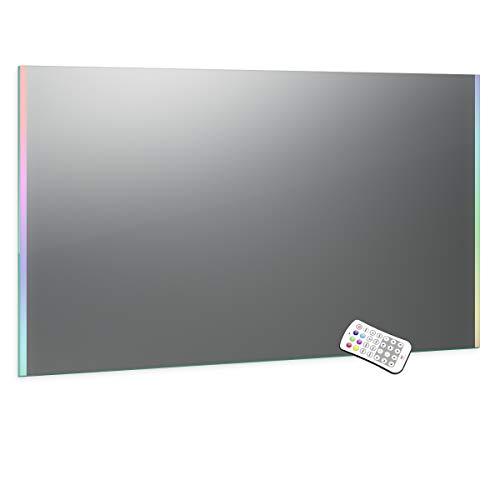 Spiegel ID Siena Design: LED BADSPIEGEL mit Beleuchtung - nach Wunschmaß - Made in Germany - Auswahl: (Breite) 120 cm x (Höhe) 80 cm - mit RGB Beleuchtung inkl Fernbedienung - Modell: 2203002