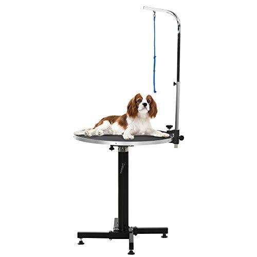 Pawhut Trimmtisch Tierpflegetisch Schertisch Luftdrucklift runder Pflegetisch für Hunde Katzen klappbar Stahl Schwarz Ø70 x 1,8T x 75-100H cm