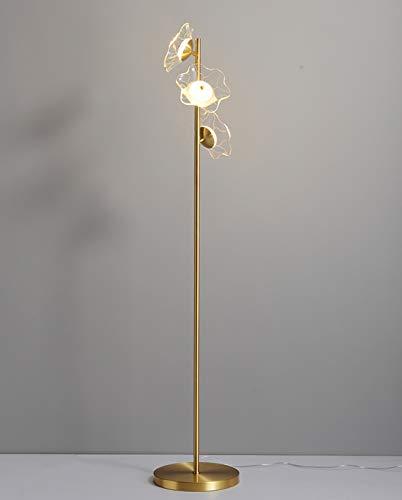 UWY Lámpara de Lectura Brillante, lámparas de pie, lámpara de pie de Cobre, para el Estudio del Dormitorio de la Sala de Estar, lámpara Vertical de Pantalla de Vidrio -