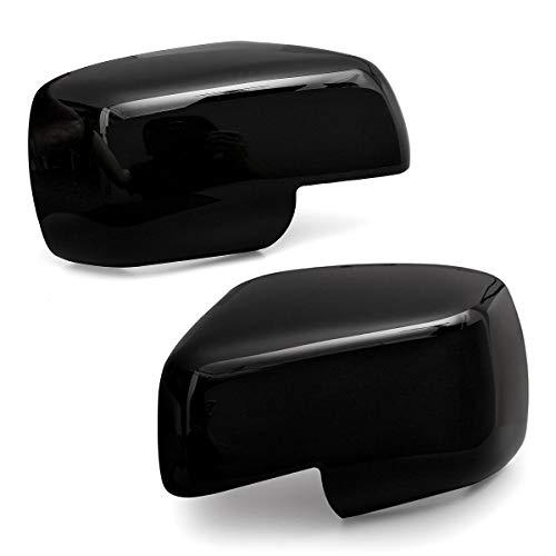 ZLNCJDM Retroview Espejo Cubre Tapas, para Descubrimiento 3 Freelander 2 Range Rover Sport 04-09 Black Chrome Plated Wing Página + Lente Espejo,Glossy Black
