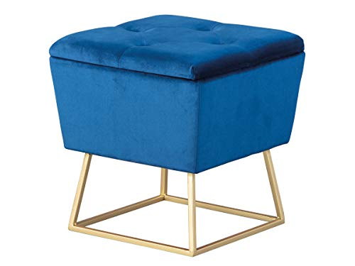 Inter Link Hocker Polsterhocker Pouf Design mit Stauraum und Metallgestell aus Samt in gold und blau