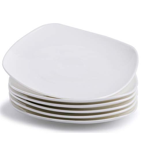 Zoneyila Porcelain Square Dinner Plates - 9 Inch - Set of 6, White