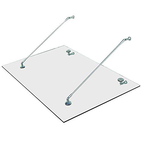 Homcom Vordach Glasvordach Türvordach Verbundsicherheitsglas ESG 304 Edelstahl Klarglas 3 Größen (150x90 cm) (M)