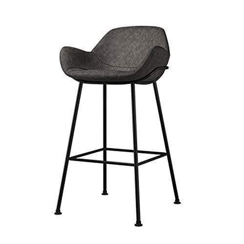 YZT QUEEN Barstoel, moderne casual mode zwart smeedijzeren barkruk, gestoffeerde stoel, rugleuning en armleuningen metalen poten keuken ontbijt bar kruk