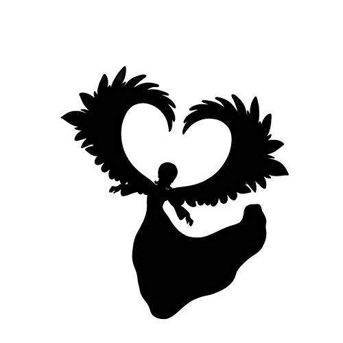 XCWQ Auto Sticker 12.4 * 13.7Cm Leuke Engel Gebruik Vleugels Maak Ontwerp Zwart/Zilver Bedek Het Lichaam Display Persoonlijkheid Zwart