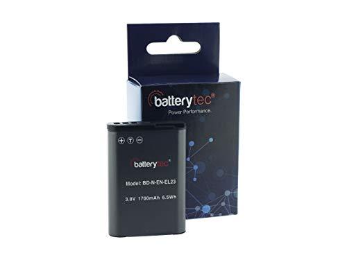 Batterytec® Batería de Repuesto para Nikon cámara, Nikon EN-EL23, Coolpix P600 S810c P900S B700 Cámara Digital, [Recargable,2 Paquetes,3.8V,1700mAh, Li-Ion,12 Meses de garantía]