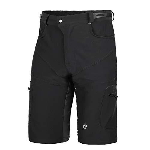SKYSPER Pantalones Cortos de MTB, Pantalones Cortos de Ciclismo para Hombre con Bolsillos Pantalones Cortos de Bicicleta de Montaña Transpirable para Senderismo Correr Deporte al Aire Libre