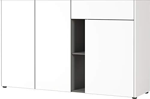 Germania Sideboard 3499-550 GW-Veluva, in Weiß/Graphit, mit abgesenktem Oberboden, 154 x 95 x 42 cm (BxHxT)