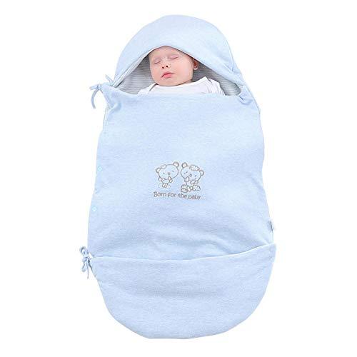 Niño Saco de Dormir,Edredón recién nacido, productos para bebés de saco de dormir de algodón de doble uso de otoño-azul_95X55cm